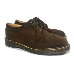 DR. MARTENS Wing Tip Oiled Brown Leather Oxfords